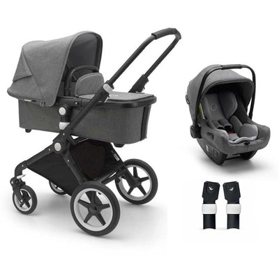 Bugaboo Lynx Turtle Travel System - Black + Grey Melange-Travel Systems- Natural Baby Shower