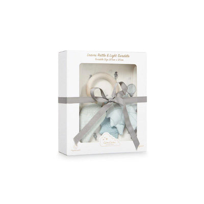 Cam Cam Copenhagen Gift Box with Swaddle and Rattle - Holiday/Leaves-Gift Sets-Holiday/Leaves- Natural Baby Shower