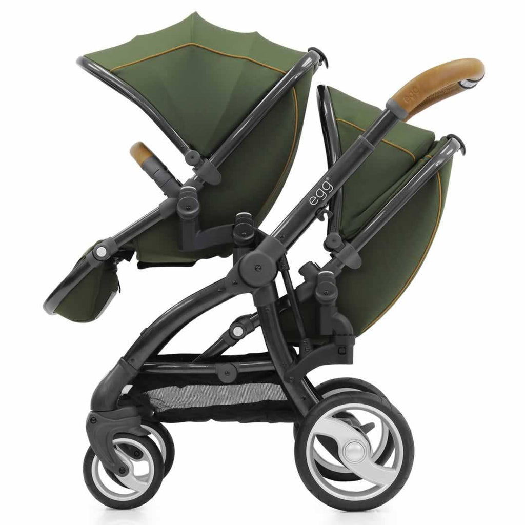 Car Seat & Stroller Accessories - Egg Tandem Seat - Gun Metal With Forest Green