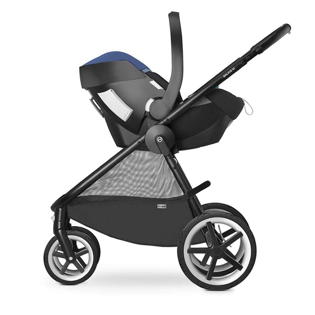 Cybex Aton 4 Car Seat Phantom Grey on Stroller Chassis