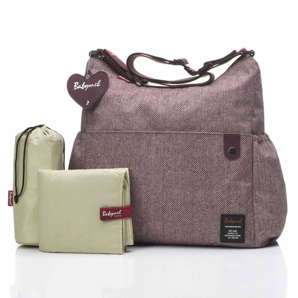 Changing Bags - Babymel Changing Bag - Big Slouchy - Tweed Aubergine