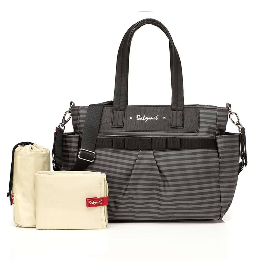 Babymel Changing Bag - Cara - Grey Stripe - Changing Bags - Natural Baby Shower