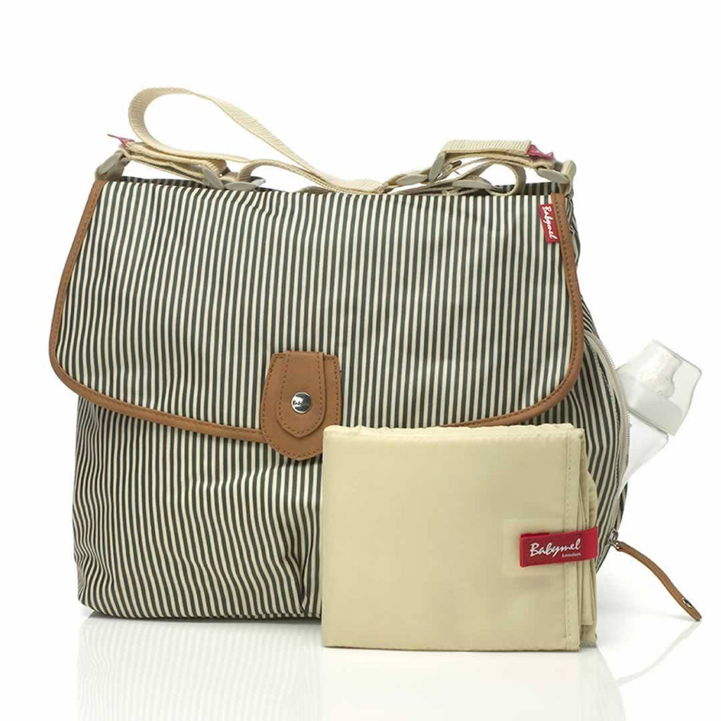 Changing Bags - Babymel Changing Bag - Satchel - Stripe Navy