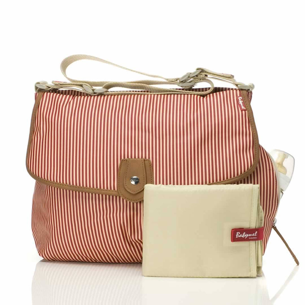 Changing Bags - Babymel Changing Bag - Satchel - Stripe Red