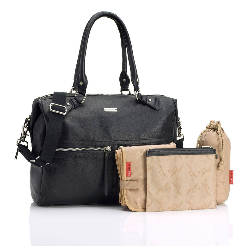 Storksak Changing Bag - Caroline Leather - Black-Changing Bags-Default- Natural Baby Shower