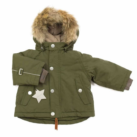 MINI A TURE Wally Fur Jacket - Olive Night - Coats & Snowsuits - Natural Baby Shower