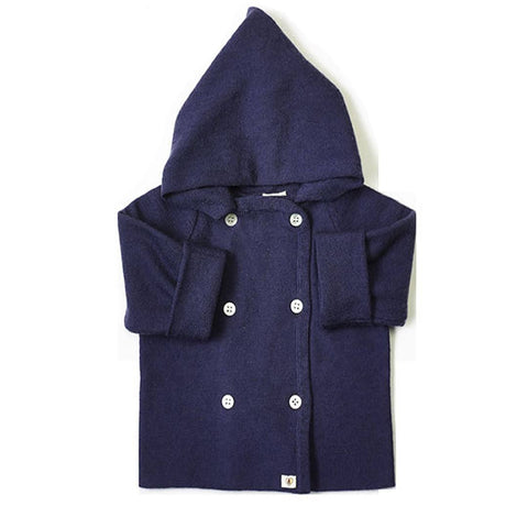 Nurtured by Nature Hooded Jacket - Pure Merino - French Navy - Coats & Snowsuits - Natural Baby Shower