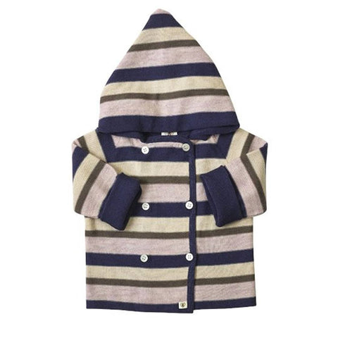 Nurtured by Nature Hooded Jacket - Pure Merino - Stripe Navy/Candytuft - Coats & Snowsuits - Natural Baby Shower