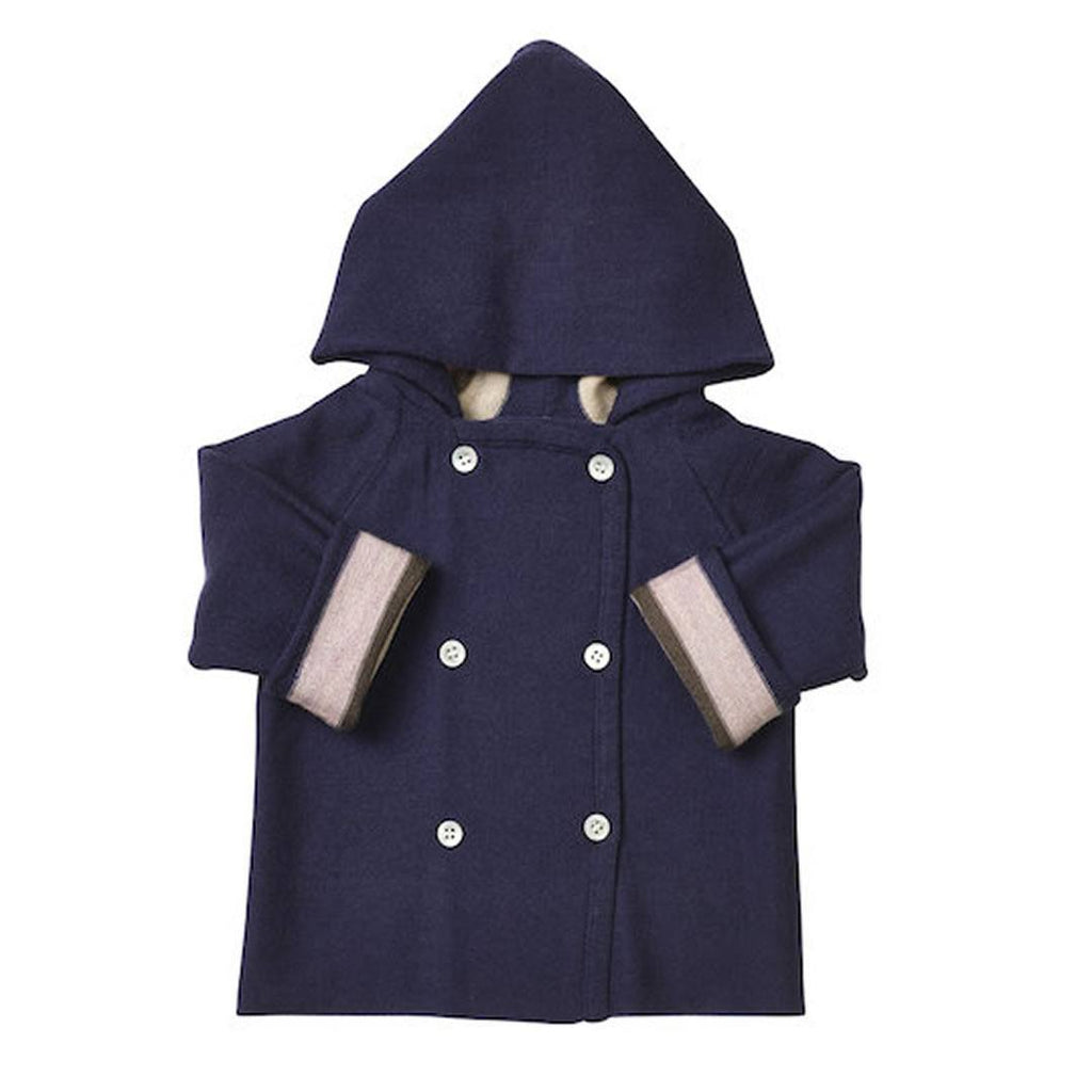 Coats & Snowsuits - Nurtured By Nature Hooded Jacket - Pure Merino - Stripe Navy/Candytuft