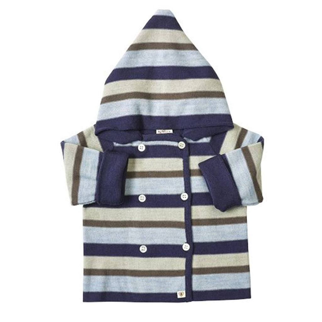 Nurtured by Nature Hooded Jacket - Pure Merino - Stripe Navy/Cornflower - Coats & Snowsuits - Natural Baby Shower