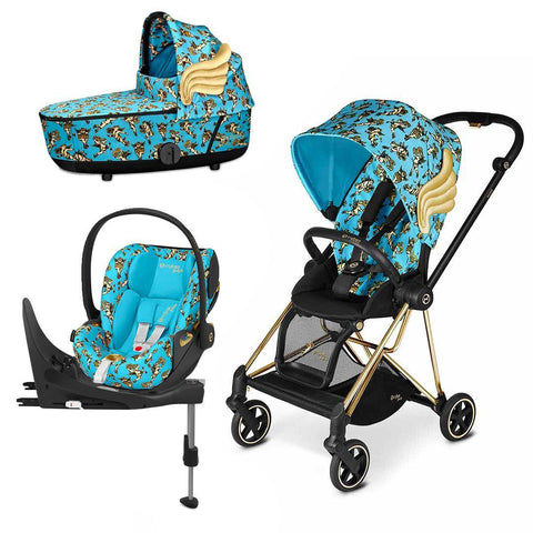 Cybex Mios Travel System - Cherub Blue by Jeremy Scott-Travel Systems-Gold-Lux-Cloud Z + Base- Natural Baby Shower