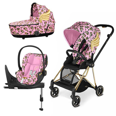 Cybex Mios Travel System - Cherub Pink by Jeremy Scott-Travel Systems-Gold-Lux-Cloud Z + Base- Natural Baby Shower