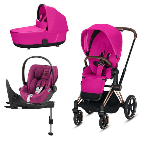 Cybex Mios Travel System - Fancy Pink-Travel Systems-Rose Gold-Lux-Cloud Z Plus + Base- Natural Baby Shower