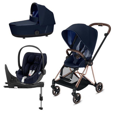 Cybex Mios Travel System - Indigo Blue-Travel Systems-Rose Gold-Lux-Cloud Z Plus + Base- Natural Baby Shower