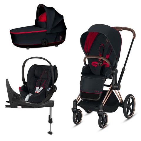 Cybex Mios Travel System - Scuderia Ferrari - Victory Black-Travel Systems-Rose Gold-Lux-Cloud Z + Base- Natural Baby Shower