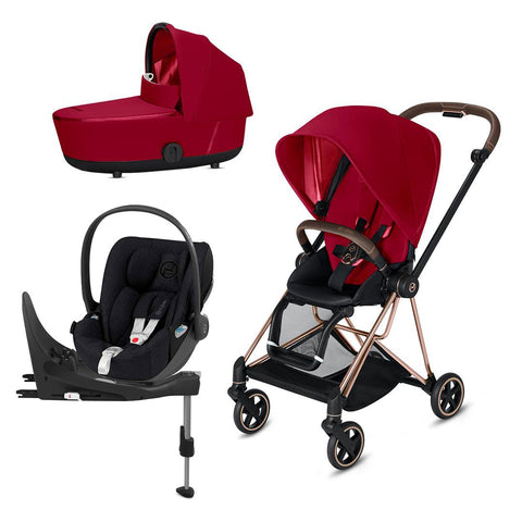 Cybex Mios Travel System - True Red-Travel Systems-Rose Gold-Lux-Cloud Z Plus + Base- Natural Baby Shower