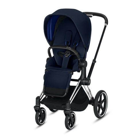 Cybex Priam Pushchair - Indigo Blue-Strollers-Chrome Black-None- Natural Baby Shower