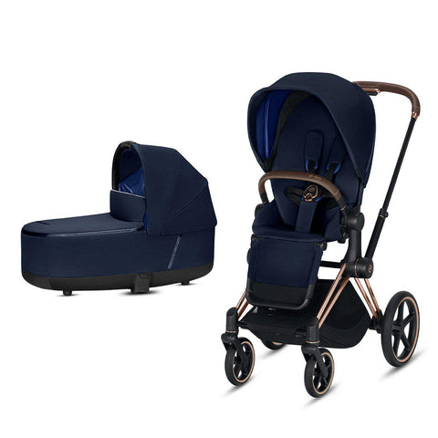 Cybex Priam Pushchair - Indigo Blue-Strollers-Rose Gold-Lux- Natural Baby Shower