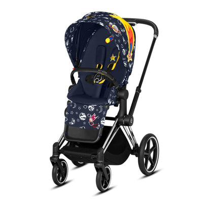 Cybex Priam Pushchair - Space Rocket-Strollers-Chrome Black-None- Natural Baby Shower