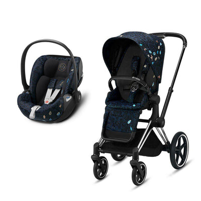 CYBEX Priam Travel System - Jewels of Nature-Travel Systems-Chrome Black-None-Cloud Z Plus- Natural Baby Shower