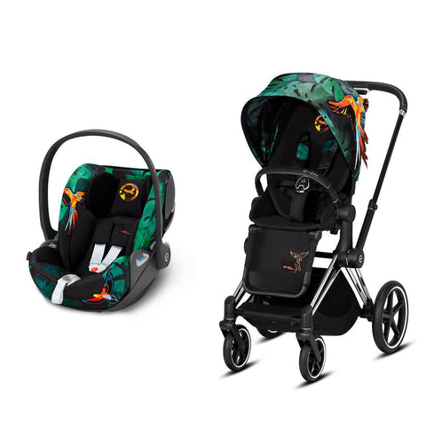 Cybex Priam Travel System - Birds of Paradise-Travel Systems-Chrome Black-None-Cloud Z- Natural Baby Shower