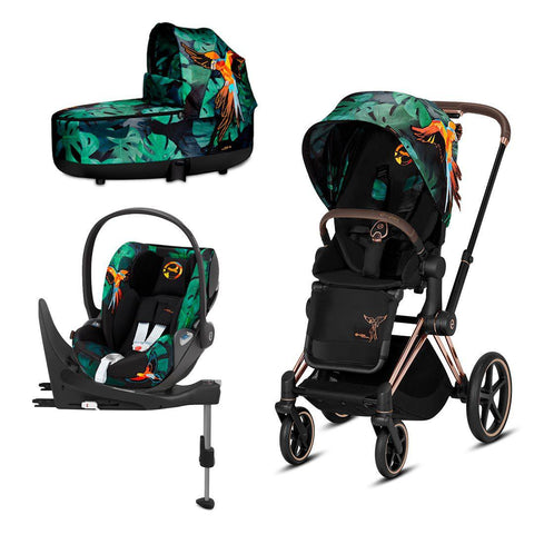 Cybex Priam Travel System - Birds of Paradise-Travel Systems-Rose Gold-Lux-Cloud Z + Base- Natural Baby Shower