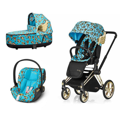 CYBEX Priam Travel System - Cherub Blue by Jeremy Scott-Travel Systems-Gold-Lux-Cloud Z- Natural Baby Shower