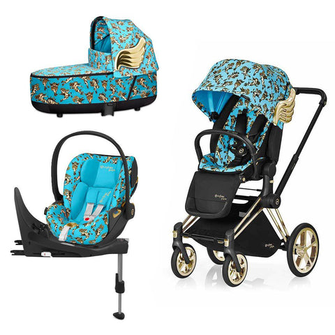 Cybex Priam Travel System - Cherub Blue by Jeremy Scott-Travel Systems-Gold-Lux-Cloud Z + Base- Natural Baby Shower