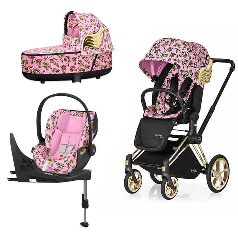 Cybex Priam Travel System - Cherub Pink by Jeremy Scott-Travel Systems-Gold-Lux-Cloud Z + Base- Natural Baby Shower