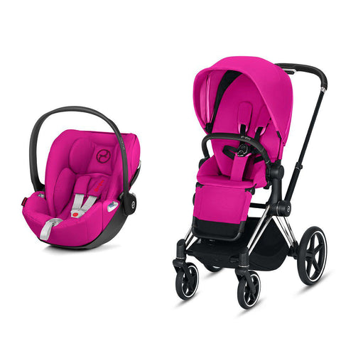Cybex Priam Travel System - Fancy Pink-Travel Systems-Chrome Black-None-Cloud Z- Natural Baby Shower