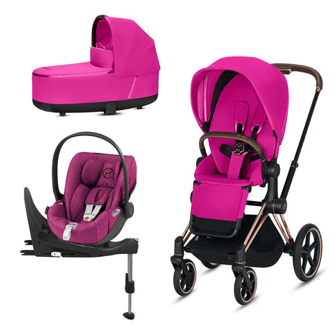 Cybex Priam Travel System - Fancy Pink-Travel Systems-Rose Gold-Lux-Cloud Z Plus + Base- Natural Baby Shower