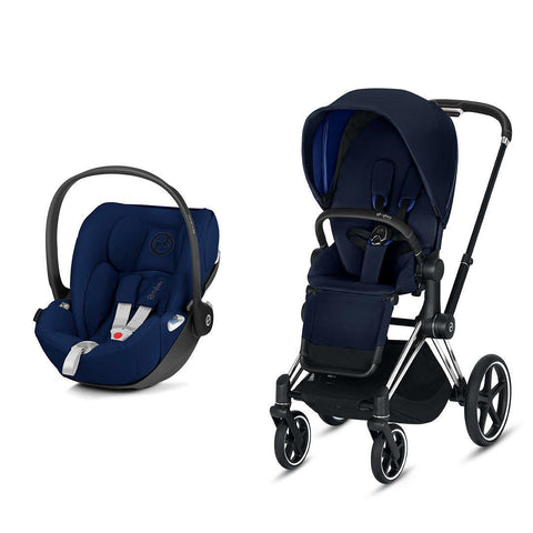 Cybex Priam Travel System - Indigo Blue-Travel Systems-Chrome Black-None-Cloud Z- Natural Baby Shower