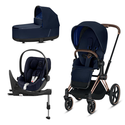 Cybex Priam Travel System - Indigo Blue-Travel Systems-Rose Gold-Lux-Cloud Z Plus + Base- Natural Baby Shower
