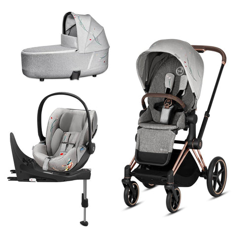 Cybex Priam Travel System - Koi-Travel Systems-Rose Gold-Lux-Cloud Z + Base- Natural Baby Shower