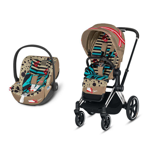 Cybex Priam Travel System - One Love - Karolina Kurkova-Travel Systems-Chrome Black-None-Cloud Z- Natural Baby Shower