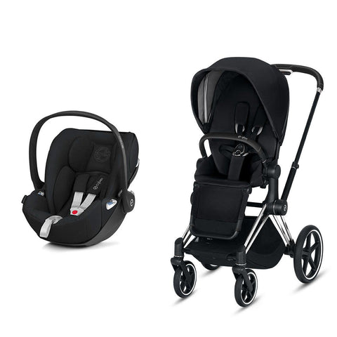 Cybex Priam Travel System - Premium Black-Travel Systems-Chrome Black-None-Cloud Z- Natural Baby Shower