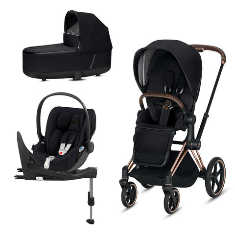 Cybex Priam Travel System - Premium Black-Travel Systems-Rose Gold-Lux-Cloud Z Plus + Base- Natural Baby Shower