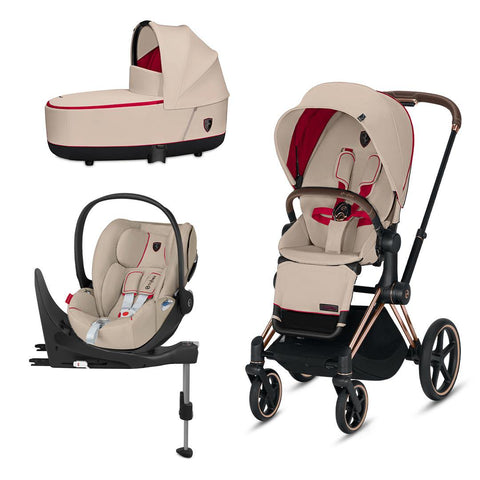Cybex Priam Travel System - Scuderia Ferrari - Silver Grey-Travel Systems-Rose Gold-Lux-Cloud Z + Base- Natural Baby Shower