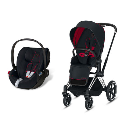 Cybex Priam Travel System - Scuderia Ferrari - Victory Black-Travel Systems-Chrome Black-None-Cloud Z- Natural Baby Shower