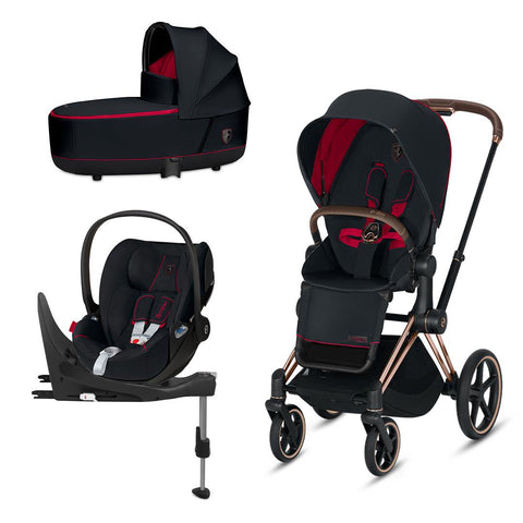 Cybex Priam Travel System - Scuderia Ferrari - Victory Black-Travel Systems-Rose Gold-Lux-Cloud Z + Base- Natural Baby Shower