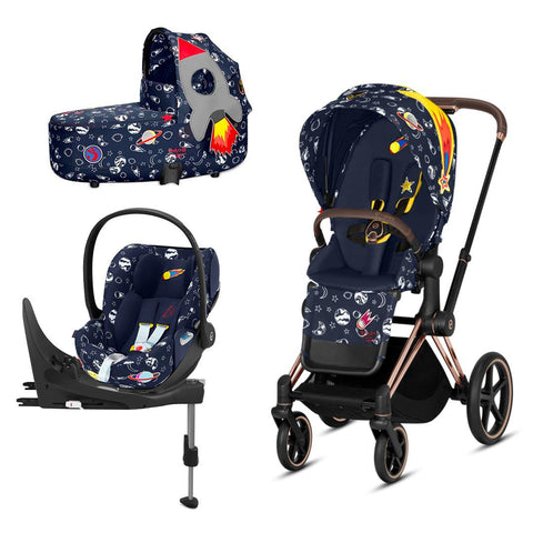 Cybex Priam Travel System - Space Rocket-Travel Systems-Rose Gold-Lux-Cloud Z + Base- Natural Baby Shower