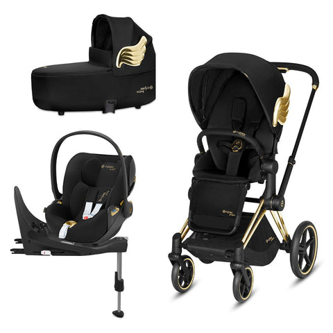 Cybex Priam Travel System - Wings by Jeremy Scott-Travel Systems-Gold-Lux-Cloud Z + Base- Natural Baby Shower