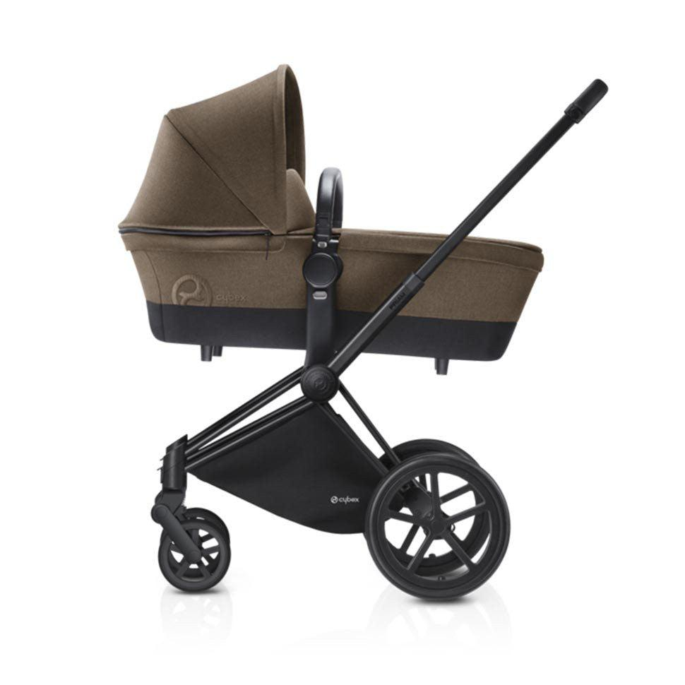 Cybex Priam Pushchair with Carrycot - Black Chassis + Cashmere Beige-Strollers- Natural Baby Shower