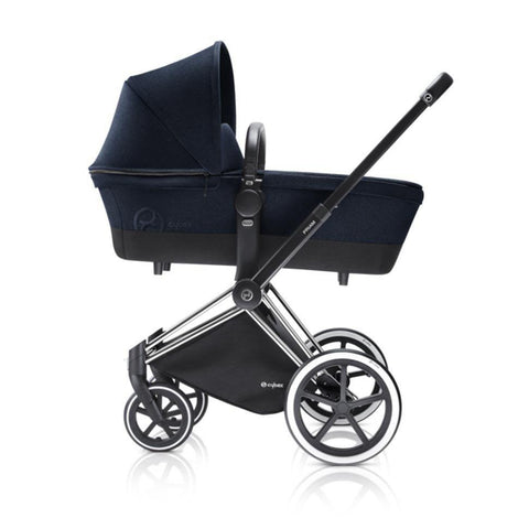Cybex Priam Pushchair with Carrycot - Chrome Chassis + Midnight Blue