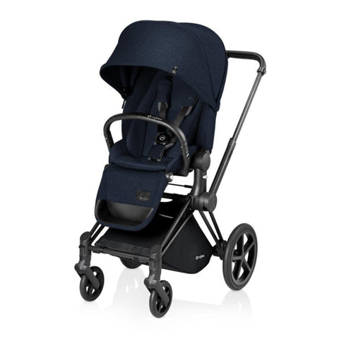 Cybex Priam Pushchair with Lux Seat - Black Chassis + Midnight Blue