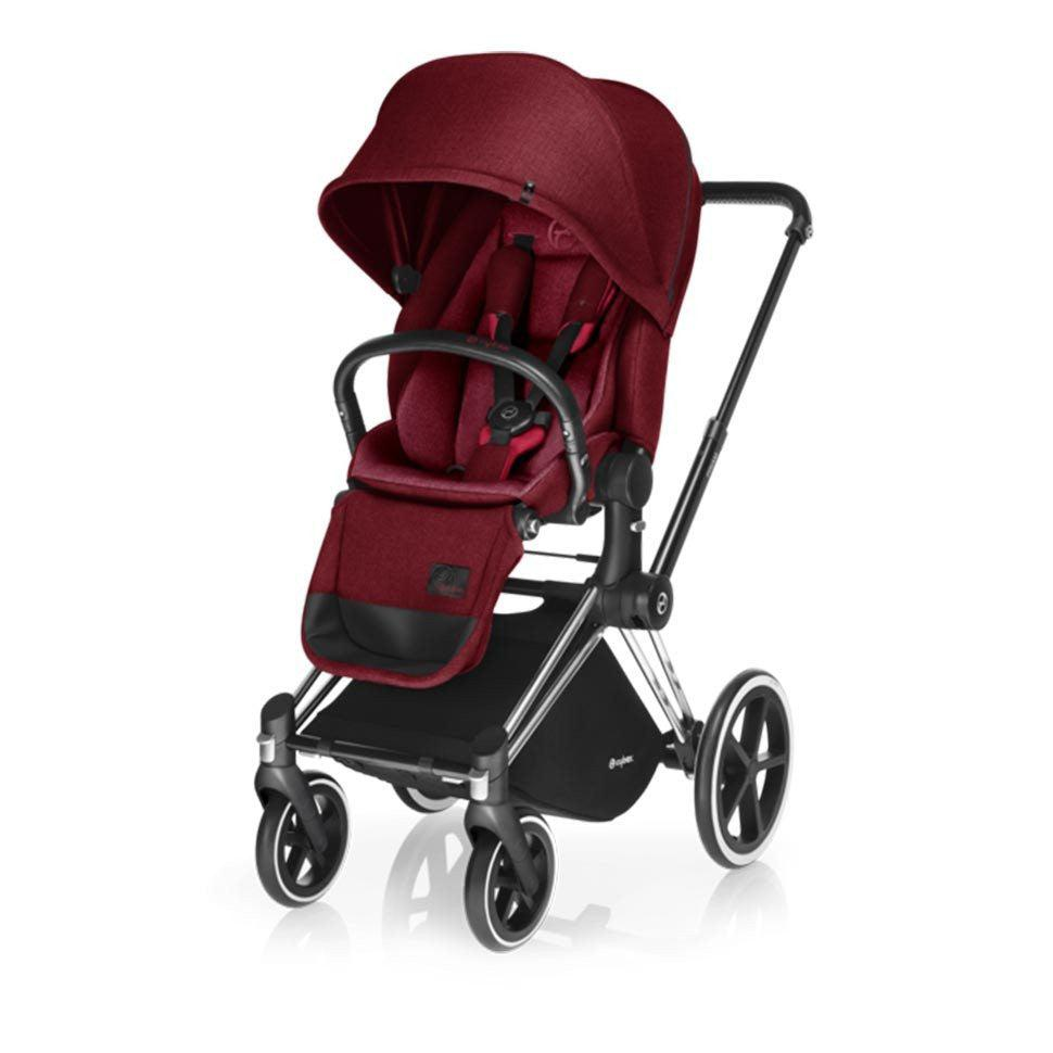 Cybex Priam Pushchair with Lux Seat - Chrome Chassis + Infra Red-Strollers- Natural Baby Shower