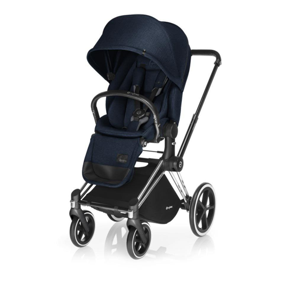 Cybex Priam Pushchair with Lux Seat - Chrome Chassis + Midnight Blue-Strollers- Natural Baby Shower