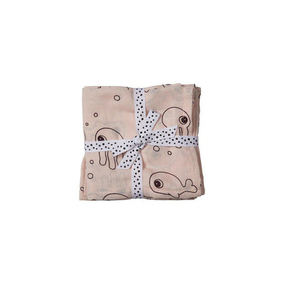 Done by Deer Burp Cloths - Sea Friends - Powder - 2 Pack-Burp Cloths-Powder- Natural Baby Shower