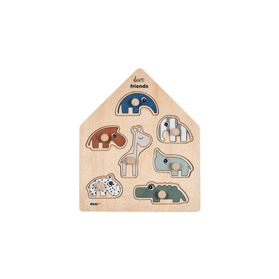 Done by Deer Peg Puzzle - Deer Friends - Colour Mix-Puzzles-Colour Mix- Natural Baby Shower