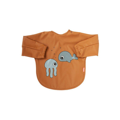Done by Deer Sleeved Bib - Sea Friends - Mustard + Grey-Bibs-Mustard + Grey-6-18m- Natural Baby Shower